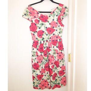 CATH KIDSTON Floral Dot Pink & Blue Dress SZ: 8